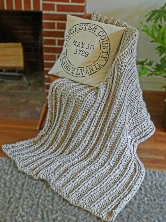 Chunky Blanket Knitting Pattern Chunky Knit Throw Pattern Knitted