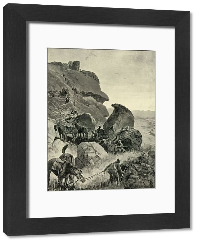 22x18 inch (580x480 mm) frame with high quality RA4 print and mount individually cut to size (other products available) - 'Prinsloo's Last Stand in the Valley of the Little Caledon: The Boers' Position on the Heights', 1901. Hendrik Frederik Prinsloo (1861-1900) commanded the Boer Carolina Commando infantry regiment in their last position before surrender on 30 July 1900. From