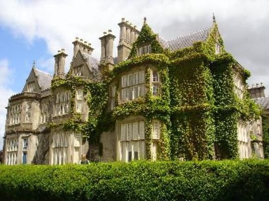 Muckross House, nr. Killarney, County Kerry, Ireland. Designed by Scottish architect, William Burn, built in 1843 for Henry Arthur Herbert + his wife, Mary Balfour Herbert. Built in the Tudor style. Extensive improvements were undertaken in the 1850's in preparation for the visit of Queen Victoria in 1861. In 1899 it was bought by Arthur Guinness, 1st Baron Ardilaun who wanted to preserve the dramatic landscape.