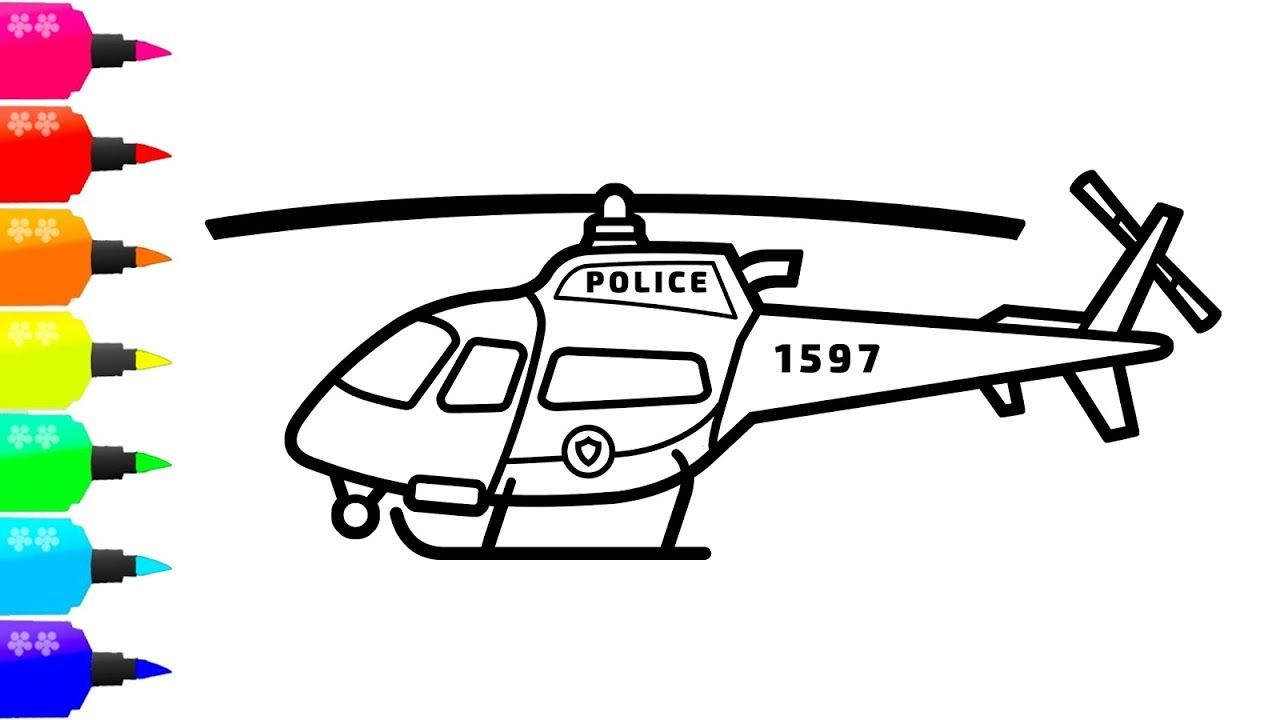 How To Draw A Police Helicopter For Kids Taxi Coloring Book For