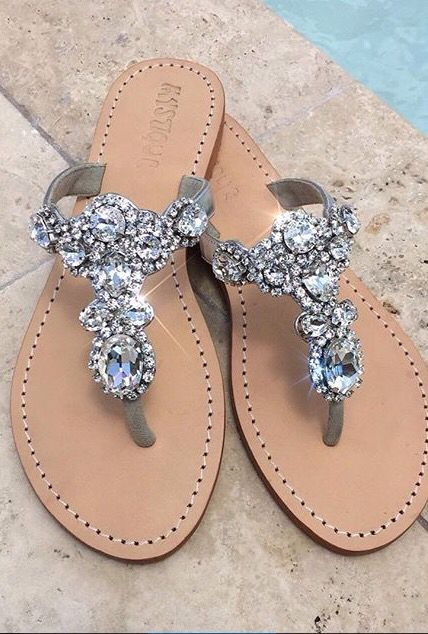 b793c84b0 Talk about a statement shoe! Silver jeweled sandals