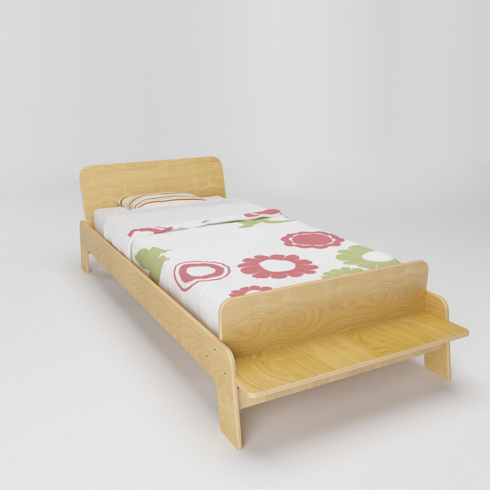 Low Profile Arlo Twin With Bench At The End And Wooden Texture Natural Wood 4550 Pauldryden Co Kid Beds Bed