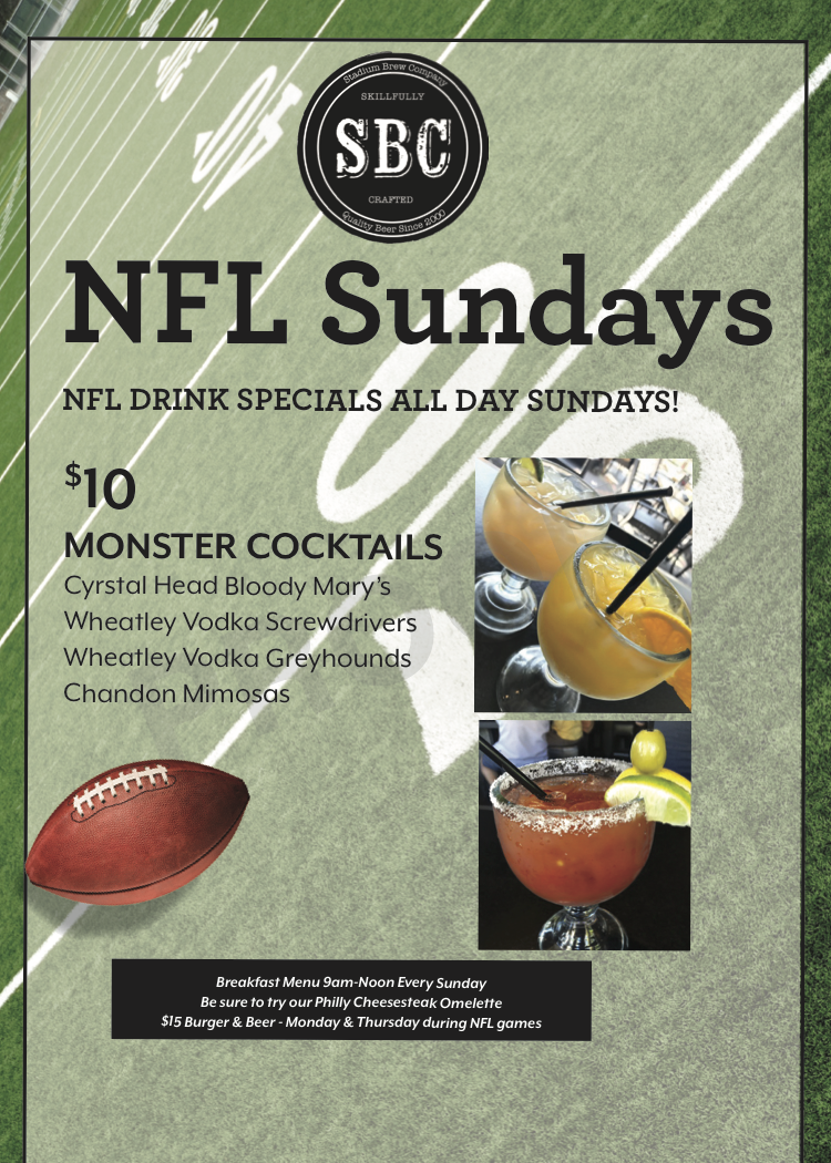 We Have All The Sundayfootball Games Right Here At Stadiumbrewco Get Your Fill Of Monstercocktails Sundayb Drink Specials Football Sunday Sunday Breakfast