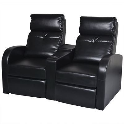 Electric Mage Chairs Black Artificial Leather 2 Seat Home Theater Recliner Sofa Lounge W