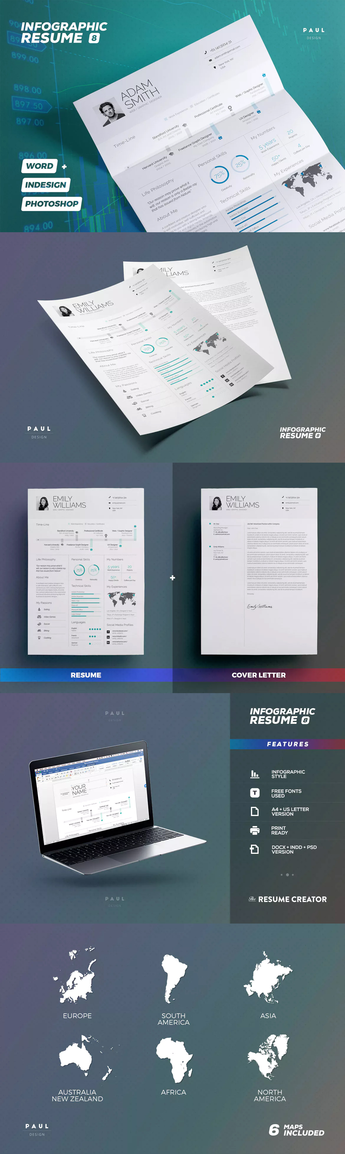 infographic resume cv indd psd ms word a4 and us letter paper size