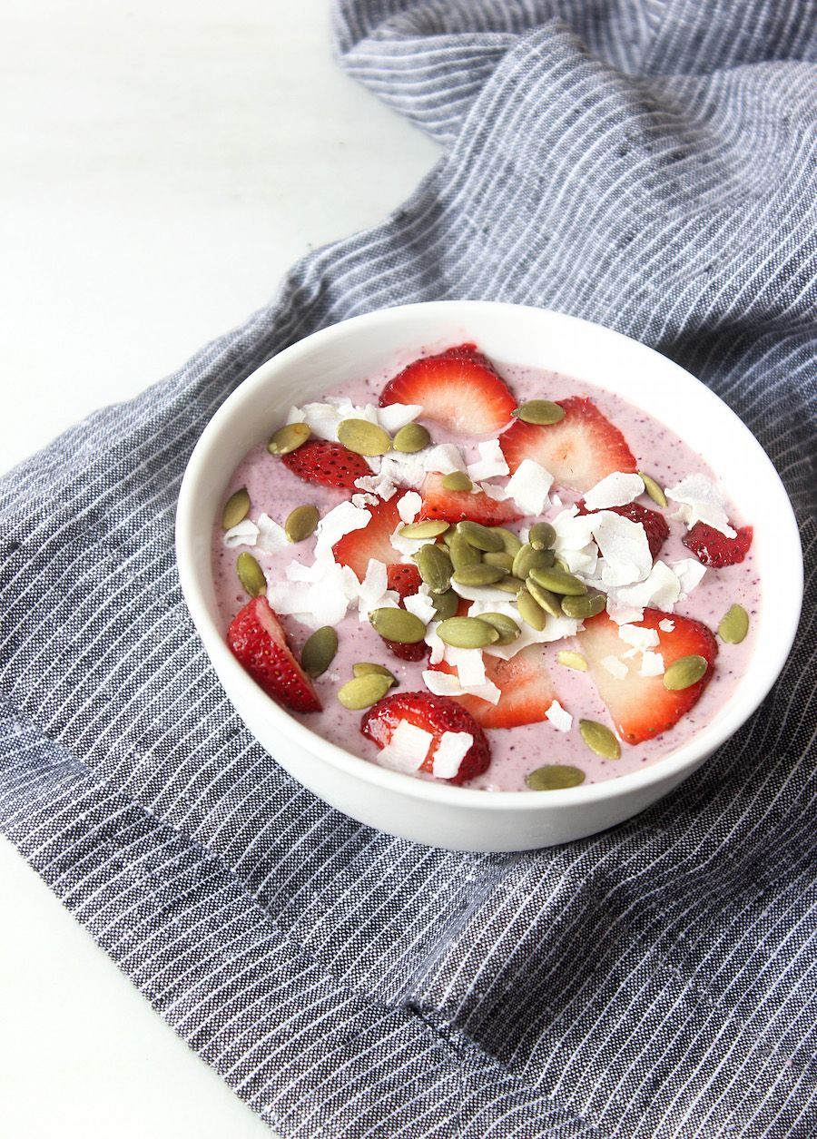 Breakfast Bowl Recipe with Blueberries, Coconut, and Strawberries