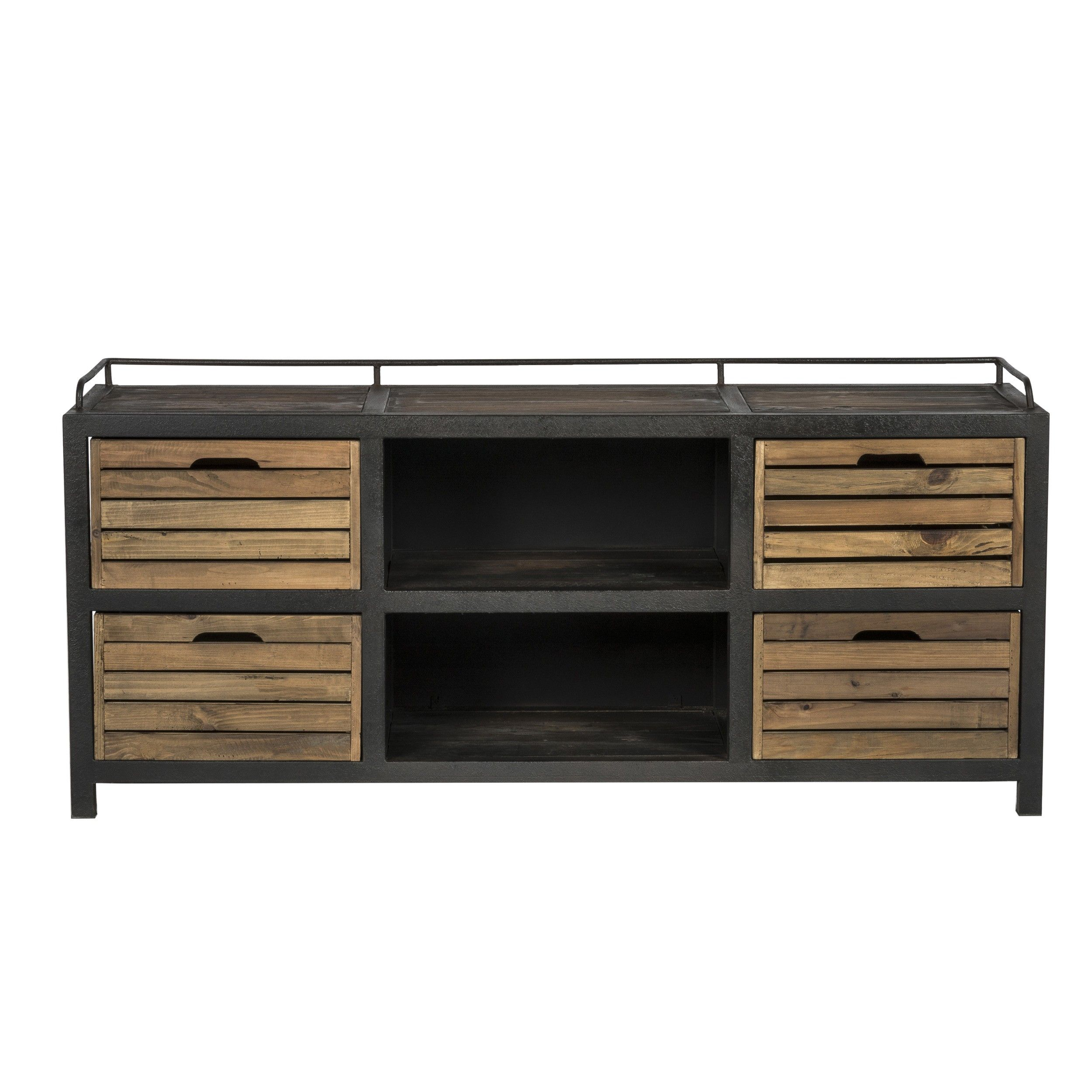 Buffet Aban 2 Niches 4 Tiroirs Deco Cabinet Furniture