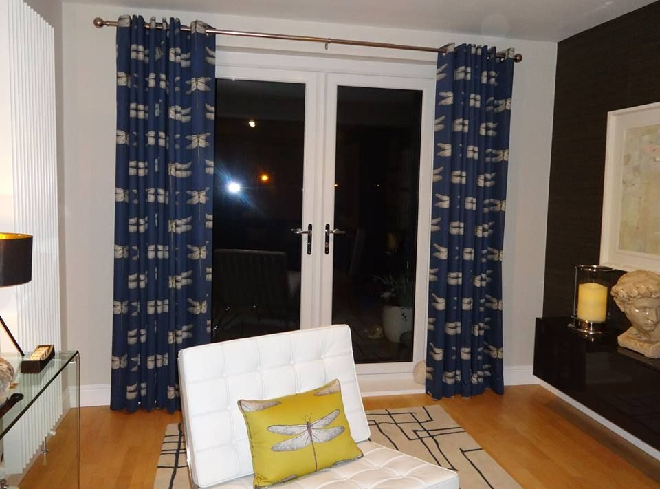 Curtains In Harlequin Demoiselle Fabic And A Matching Cushion