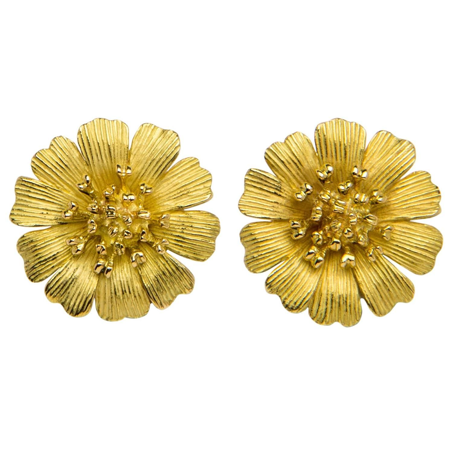Tiffany Gold Flower Earrings