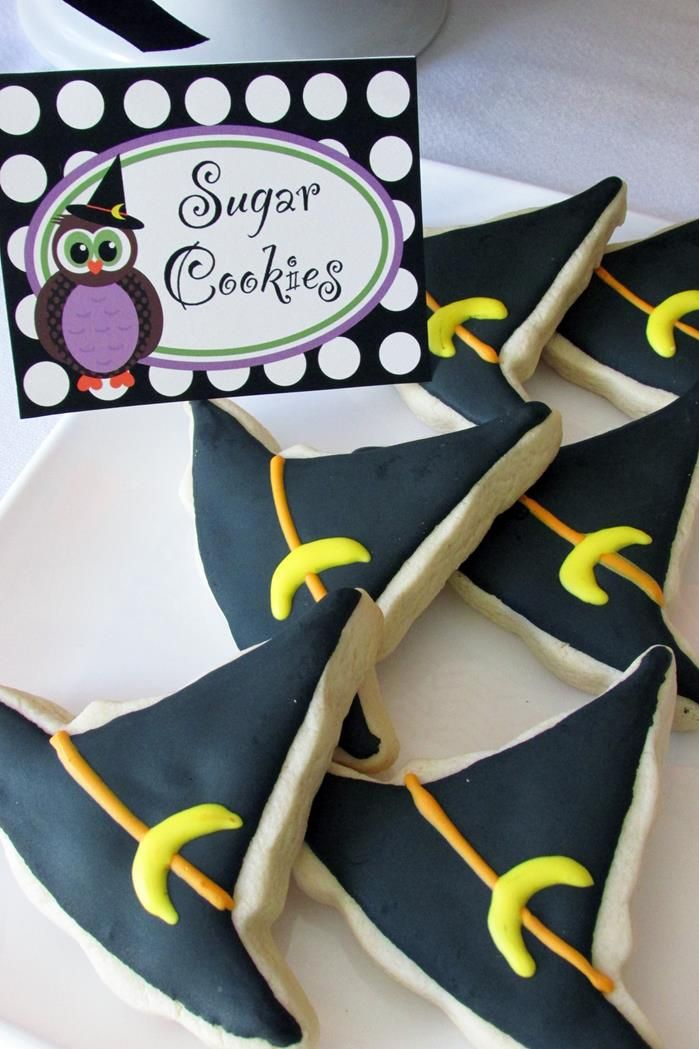 Witch hat cookies at an Owl Themed Halloween Party with Lots of Cute Ideas via Kara's Party Ideas   KarasPartyIdeas #Halloween #Party #Ideas #Supplies #owl #witchhat #cookies