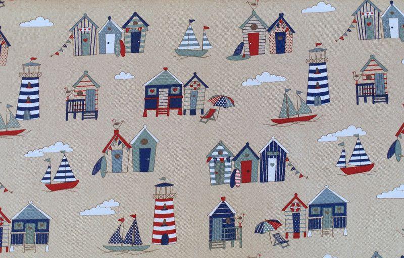 Weiteres - 850 Baumwolle Köper Maritim Beige Blau Rot - ein Designerstück von my-kati bei DaWanda