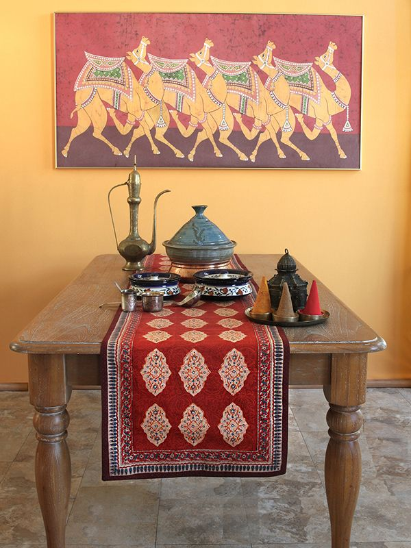 Spice Route Red Orange Moroccan Indian Table Runner With Images