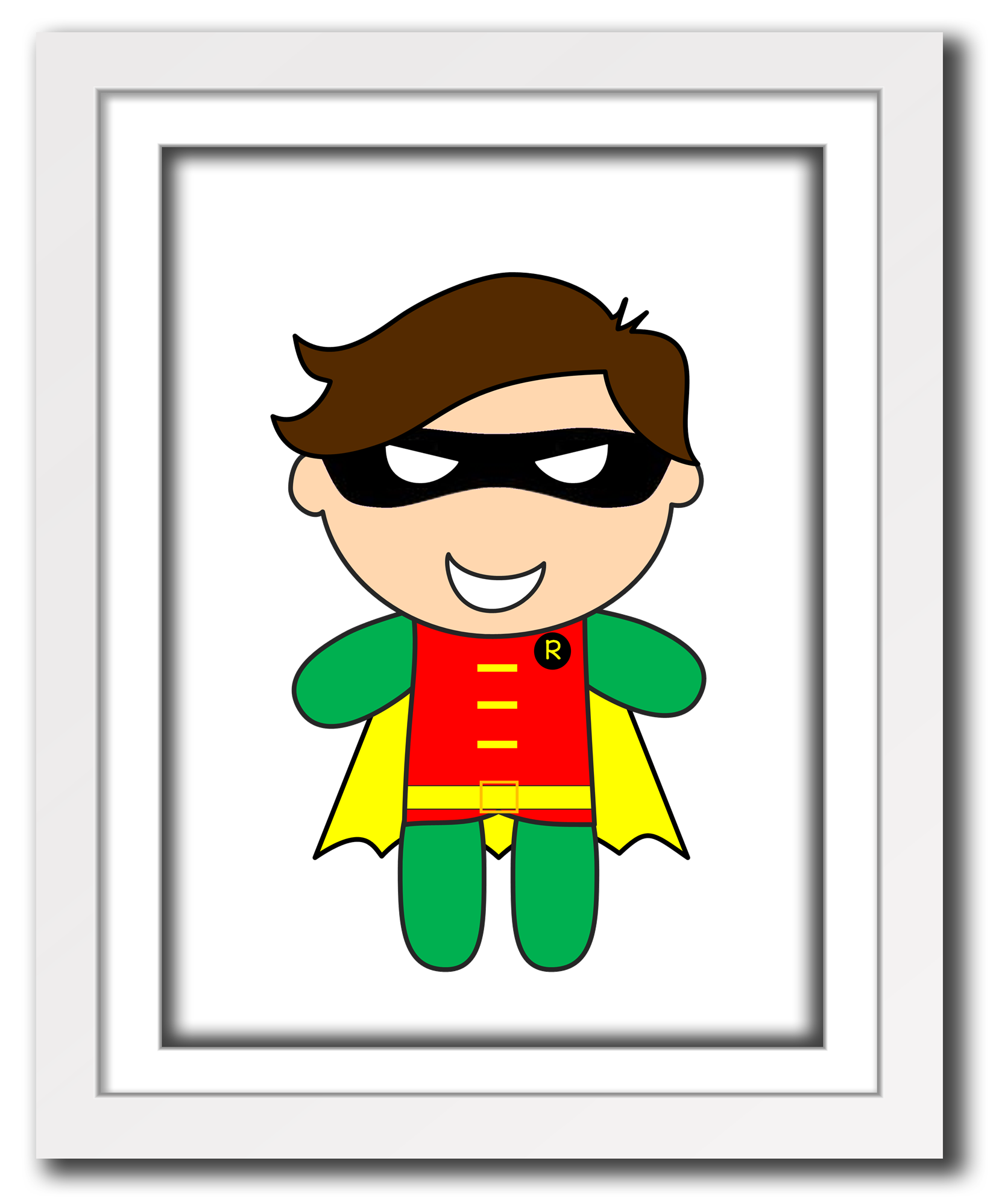 Superhero Art For Little Boys: Superhero Robin Print For Little Boys Room Or Nursery