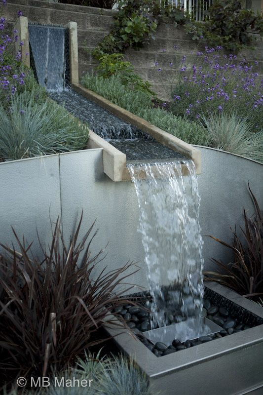 Connection Of Water From Upper Patio Spaces To Lower Near Pool Is The Idea Of Moving W Pool Water Features Water Fountain Design Water Features In The Garden