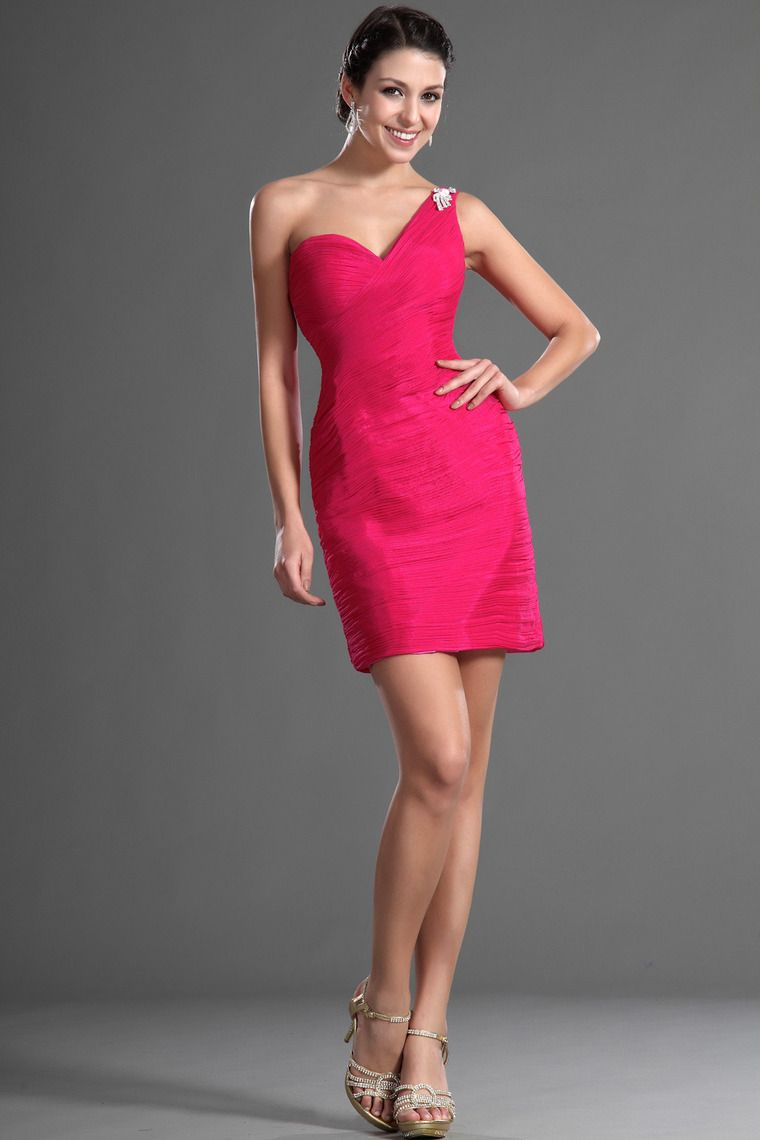 one shoulder sheathcolumn prom dress shortmini fitted and