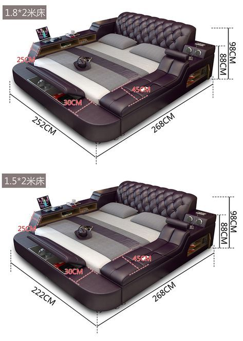 Genuine Leather Bed Frame With Magic Features Mobeldesign Seng