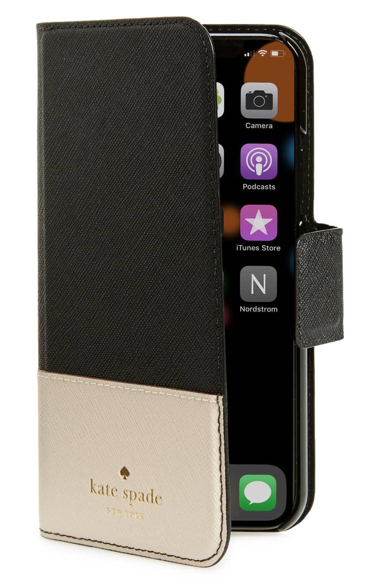 Kate spade leather wrap iphone xxs folio case black