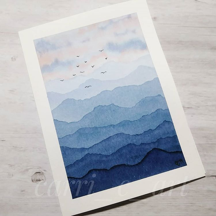 """Carrianne C on Instagram: """"34/100 The mountains are calling and I must go. ~John Muir I love trying out new colors this way. It's an Ecoline watercolor in…"""""""