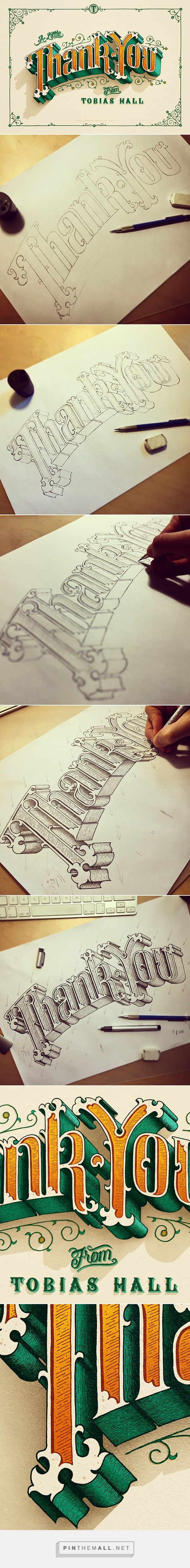 Beautiful illuminated Thank You lettering by Tobias Hall