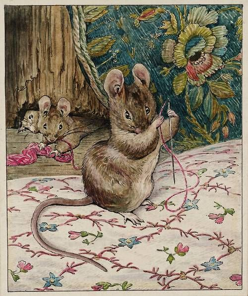 Helen Beatrix Potter. The Mice at Work: Threading the Needle, c.1902. Pen and ink and watercolour on paper, 111 x 92 mm. From Illustrations for 'The Tailor of Gloucester'.    Tate Collection.  © Frederick Warne & Co. Limited