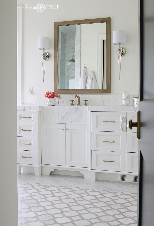 Marble Master Bathroom Wood Lattice Inlay Master