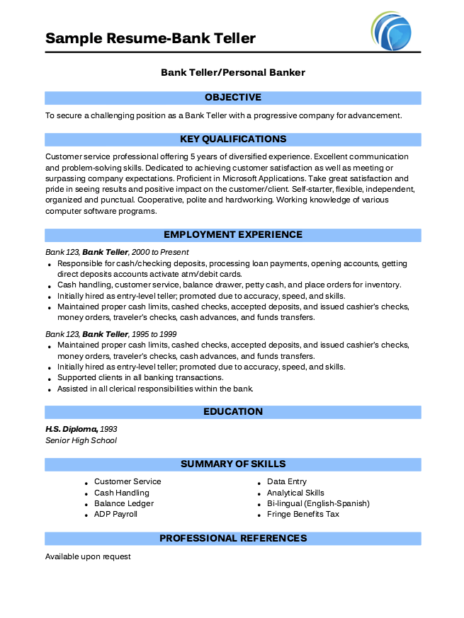 Pin by latifah on Example Resume CV | Pinterest | Bank teller, Banks ...
