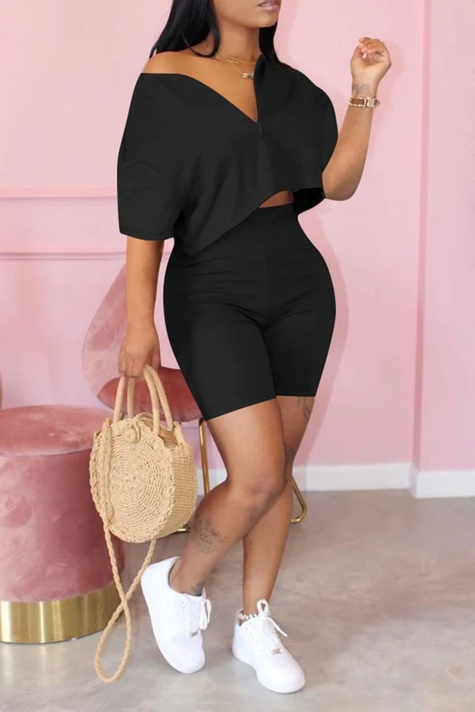 Zipper Short Sleeve T Shirt Shorts Set – Amilyonline
