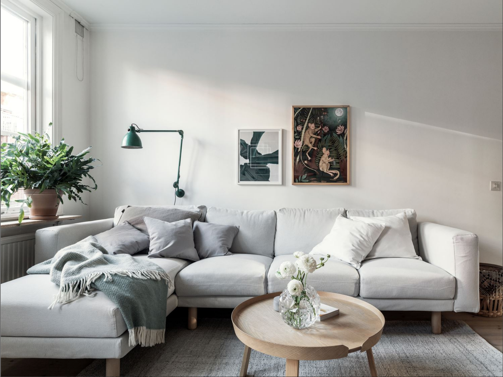 gray sofa and seafoam lamp in a small nordic apartment | Interior ...