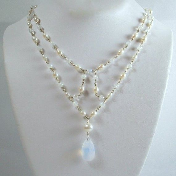 Pearls Rainbow Moonstone and Sterling Silver by TJDbyIris on Etsy, $235.00