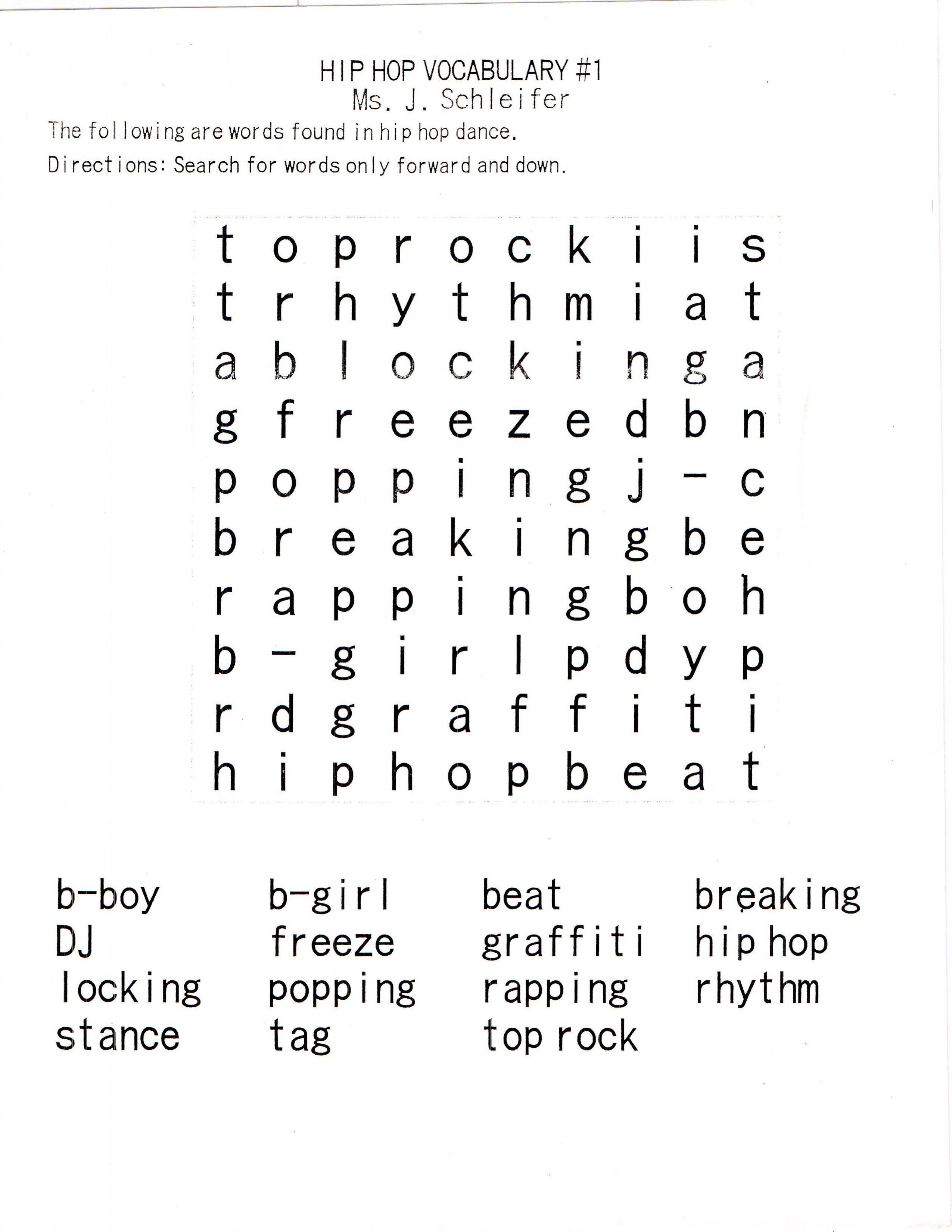 Basic Hip Hop Foundation Vocabulary Ready Made Worksheets