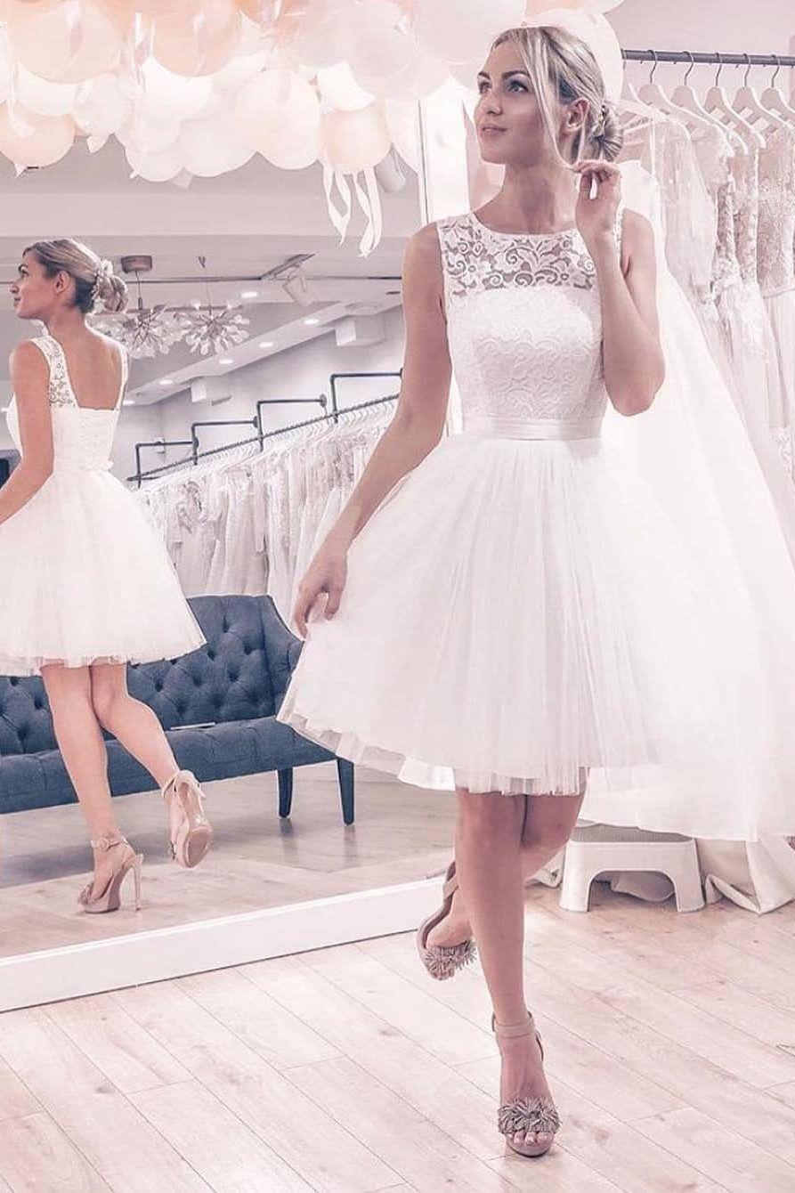 White Short Wedding Dresses Simple Lace Homecoming Dresses Cheap A Line Wedding Dresses Dre Short White Dress Wedding Short Wedding Dress Ball Gowns Wedding [ 1340 x 893 Pixel ]