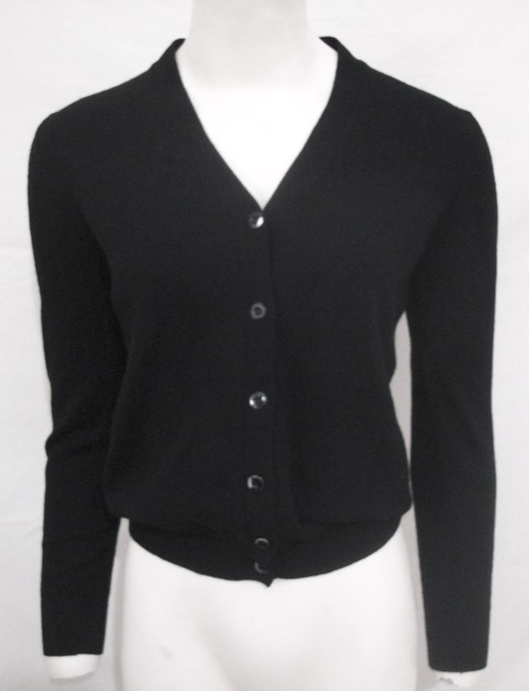 Prada Cashmere Sweater Black Cardigan Button Front Long Sleeve ...