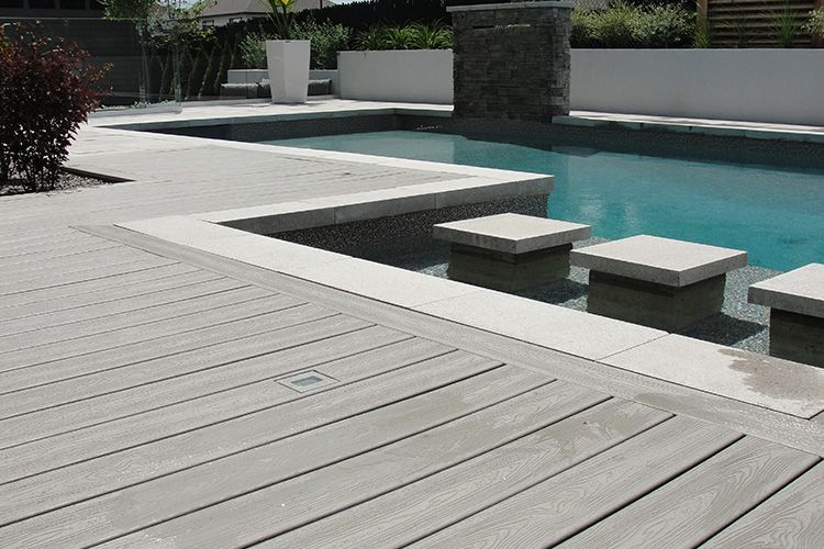 Wood Plastic Floor Design In Lithuania Wholesale Outside Composite Floor Cheap Modern Style Wooden Pool Deck Wood Pool Deck Synthetic Wood Deck