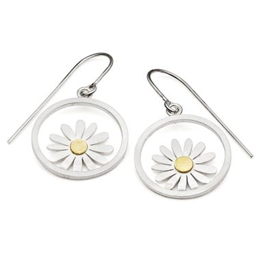 Beautiful Silver Circle And Aster Flower Earrings By Diana Greenwood Contemporary Earrings Contemporary Jewellery Designers Contemporary Jewellery