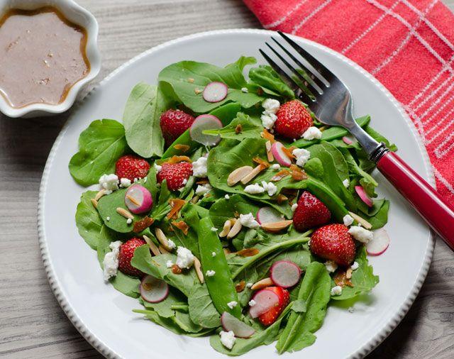 Arugula, strawberry, snow pea and radish salad