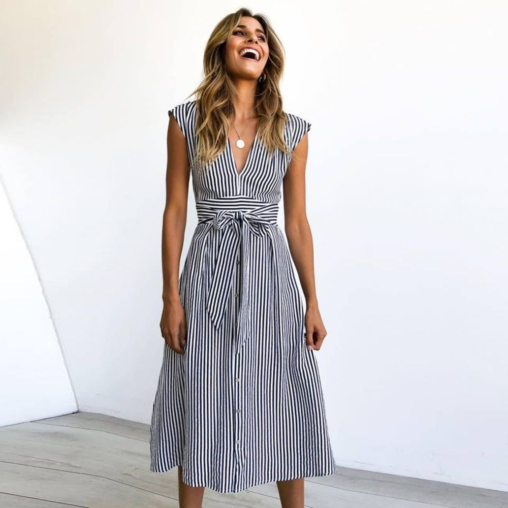 Click On The Photo To Shop This Beautiful Blue Striped Dress Navy Blue White Striped V Neck Button Down M Fashion Stripes Fashion Dress Casual Party Dresses [ 1000 x 1000 Pixel ]