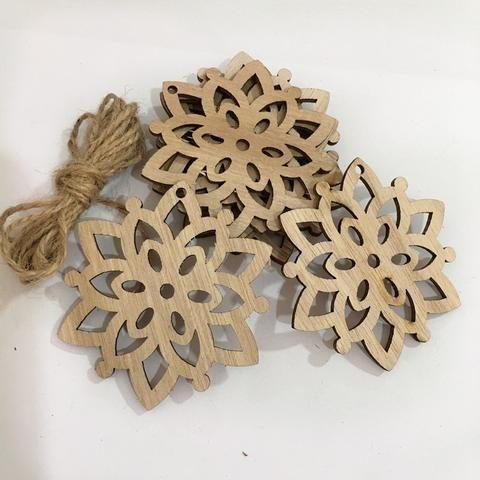 10PCS DIY Christmas Snowflakes&Deer&Tree Wooden Pendants ...