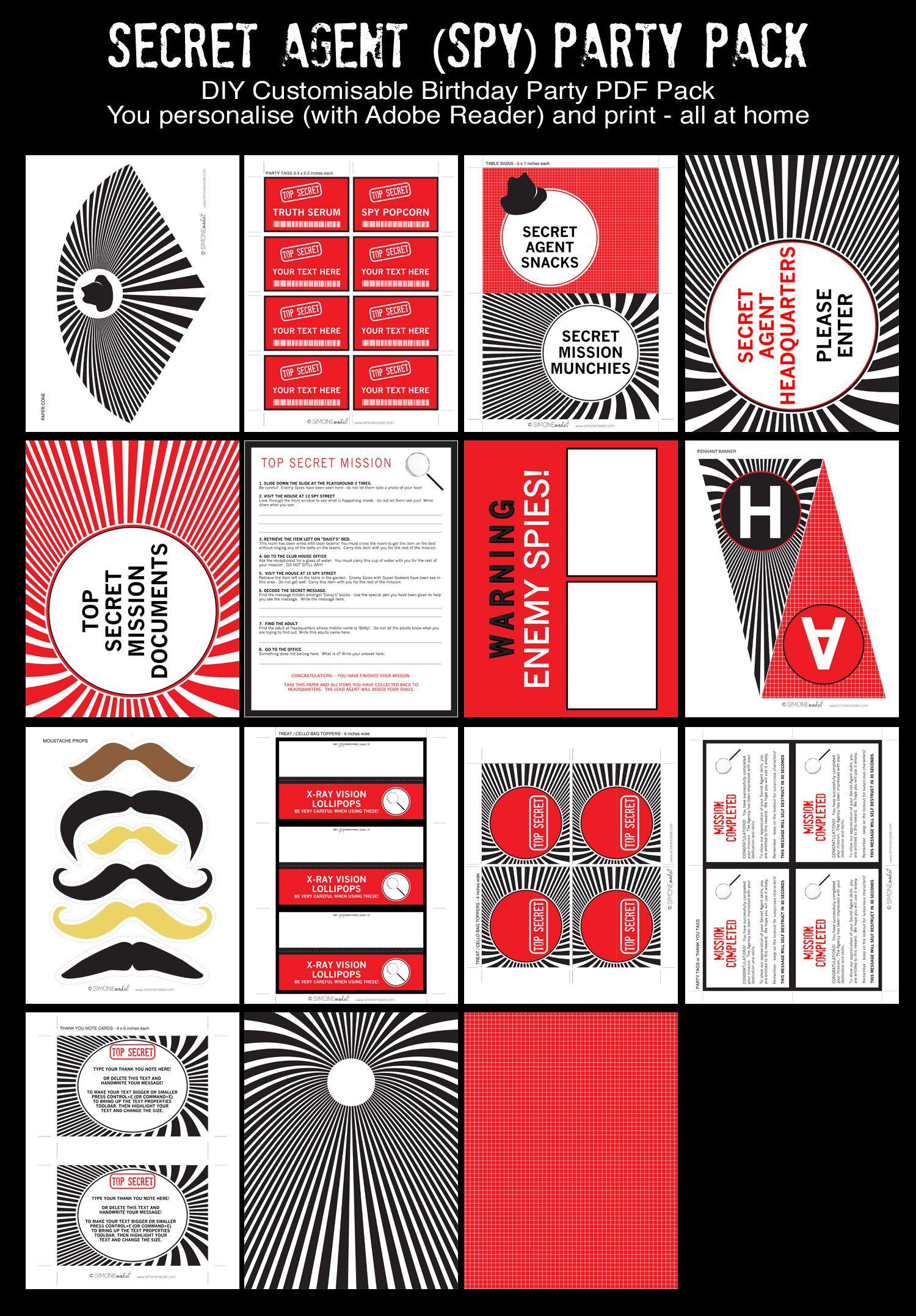 Spy Party Printables, Invitations & Decorations