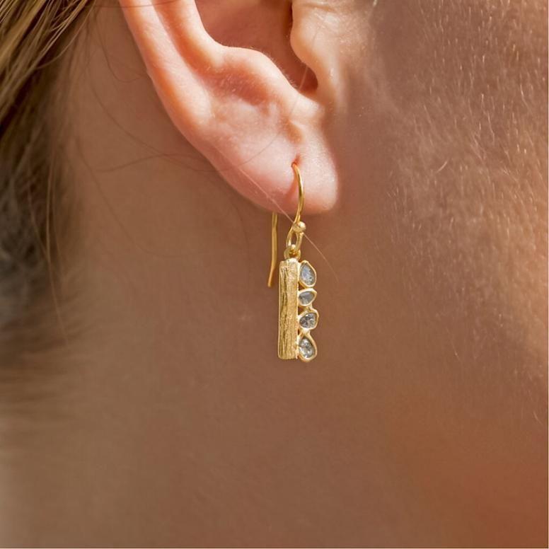 Liliana Skye   Textured Gold Bar Diamond Dangle Earrings   Fancy ...