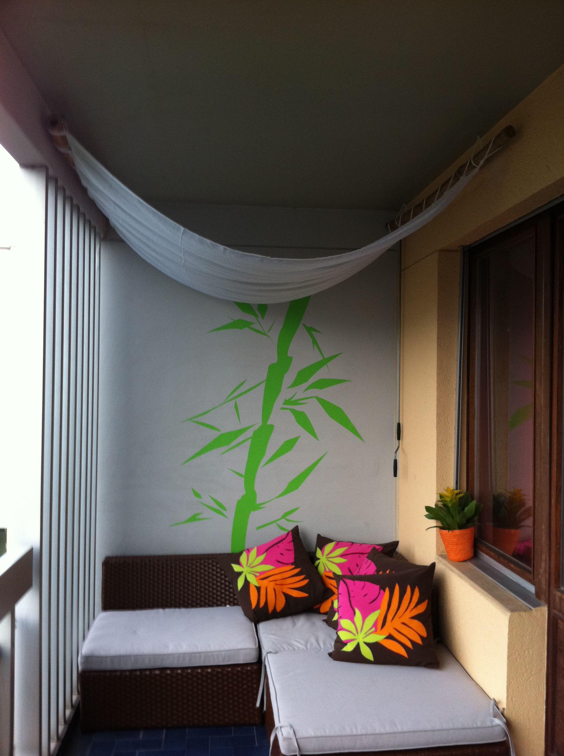Balcony Shade Design: Balcony Decoration/ DIY (ugly Pillows. Sweet Canopy