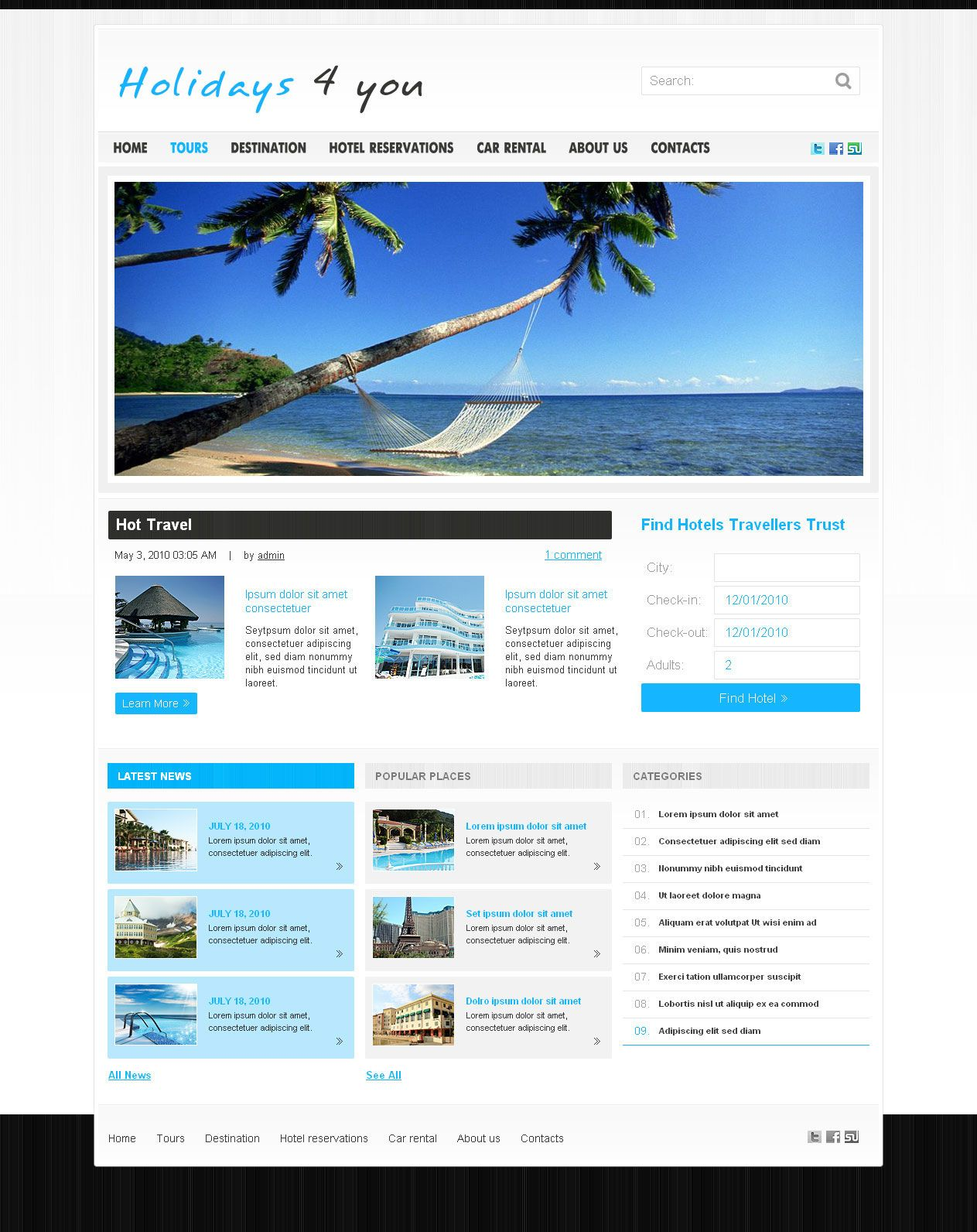 This Website Layout Design For Demo Template For Traveling Hotels