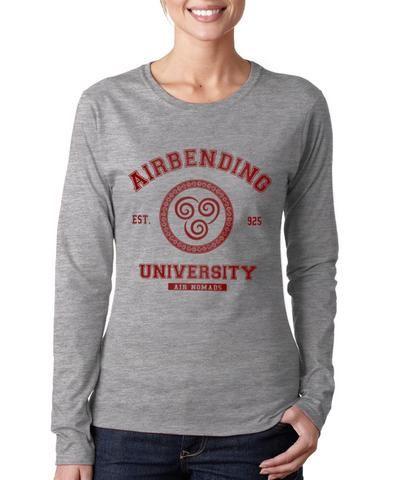 05e5616b Airbending University Maroon Ink print Avatar Air bender Long sleeve T-shirt  for Women - Meh. Geek