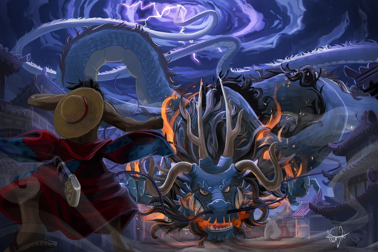 Luffy Vs Kaido By S Concept On Deviantart In 2020 Kaido One Piece Anime Wallpaper One Piece Anime