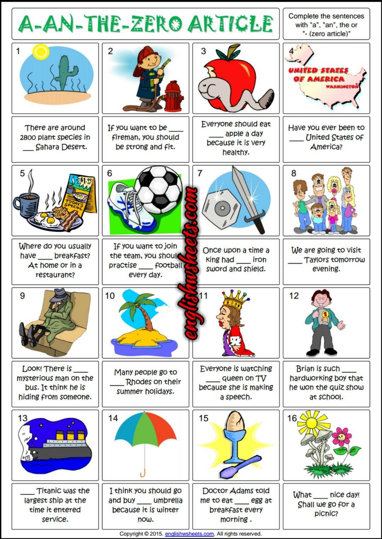 Articles ESL Printable Gap Fill Grammar Exercise Worksheet ...
