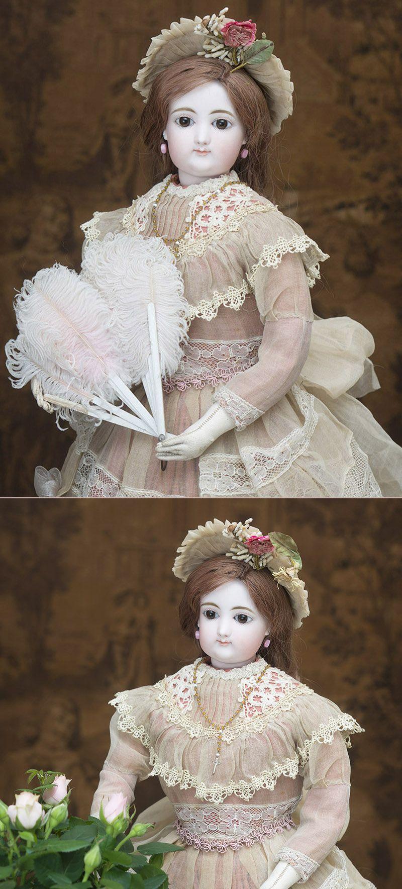 58 см Ранняя Модная кукла Gaultier в старинном платье с ...