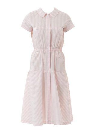 luftiges hemdblusenkleid mit bubikragen kurzen Ärmeln und gummizug in der taille