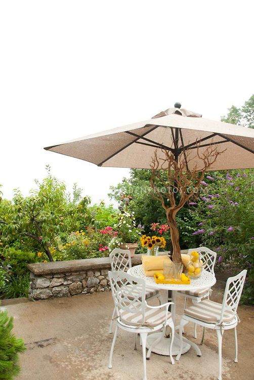 Dining Table Outside On Patio With White Iron Furniture