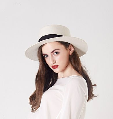 58612c3b5d852 Find More Fedoras Information about White Boater Hats for women Flat Top  100% wool felt fedora hat girls fashion elegant flat 8cm Brim