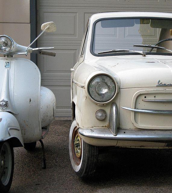 Vespa GS160 and Vespa 400 car #vespa #italiandesign