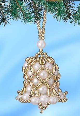 Free Beaded Christmas Patterns  beaded Christmas bell pattern